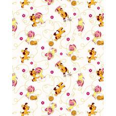 Ткань  фланель на отрез  детская б/з Котенок и щенок  -2