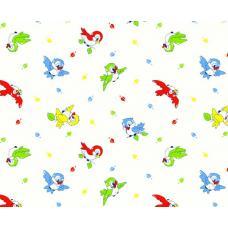 Ткань  фланель детская б/з на отрез Птички-1