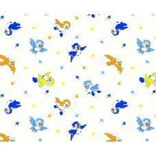 Ткань  фланель на отрез детская б/з Птички-2