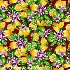 Ткань  фланель грунт, ширина 150 см, Лимон фон бордовый 622-1п