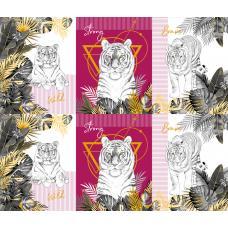Вафельное полотно на отрез  Белый тигр (3091-3)