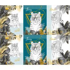 Вафельное полотно на отрез   Белый тигр (3091-1)