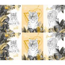 Вафельное полотно на отрез  Белый тигр (3091-2)