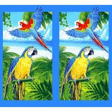 Вафельное полотно  на отрез Попугаи (386) Цена за 1 купон