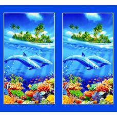 Вафельное полотно Дельфины (326)