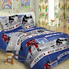 """Детское постельное бельё  поплин в кроватку  """"1846"""" Хоккей"""
