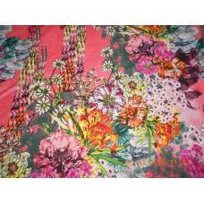 Ткань на отрез Кулирка Южные цветы цвет красный
