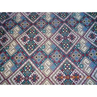 Ткань Кулирка мозайка синяя
