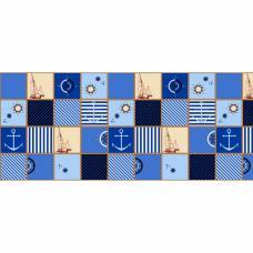 Ткань на отрез вафельное полотно набивное 150 см 553/1 Парус цвет синий