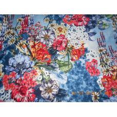 Ткань на отрез Кулирка Южные цветы цвет синий