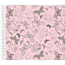 Интерлок цвет розовые бабочки 200см.,220гр/м2(цена за кг)