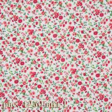 Ткань бязь на отрез Красные цветочки шир. 220см
