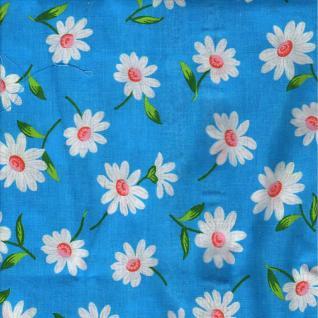 Ткань бязь плательная Ромашка белая фон голубой