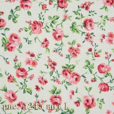 Ткань на отрез бязь Розы розовые шир. 220см