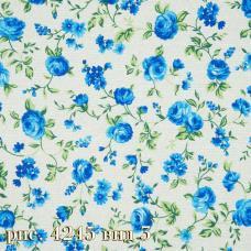 Ткань на отрез бязь Розы голубые шир. 220 см.