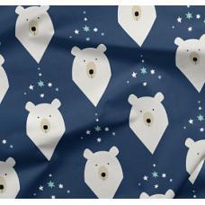 "Бязь на отрез набивная ""Белый медведь"" синий"