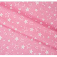 "Бязь на отрез набивная ""Звездное небо"" розовый"