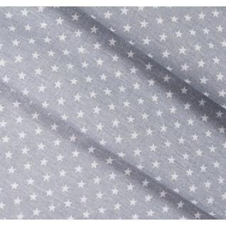 Бязь на отрез набивная Мелкие звездочки (0,5 см) серый