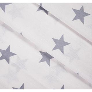 Бязь на отрез набивная Звезды (4 см) серый б/з