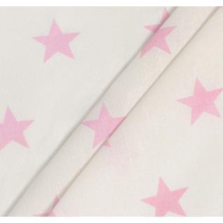 Бязь набивная на отрез Звезды (4 см) розовые б/з