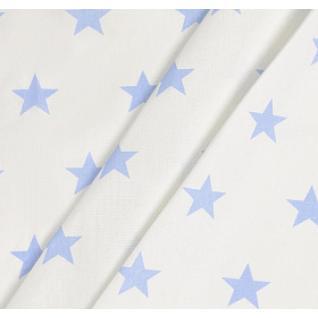 Бязь набивная на отрез Звезды (4 см) голубые б/з