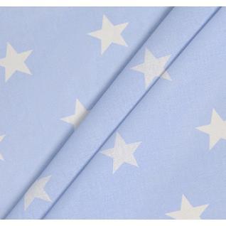 Бязь набивная на отрез Звезды (4 см) голубые