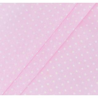 Бязь набивная Мелкие звездочки (0,5 см) розовые