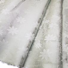 Портьерная ткань №16 цвет серый (цветы) 150 см