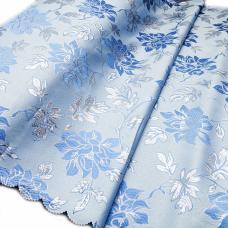 Портьерная ткань с люрексом H627 цвет №3 голубой (цветы) 150 см
