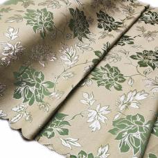 Портьерная ткань с люрексом H627 цвет №4 зелёный (цветы) 150 см