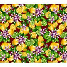 Ткань на отрез фланель грунт, ширина 150 см, Лимон фон бордовый 622-1п