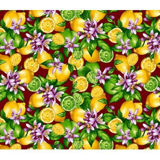 Ткань на отрез фланель грунт, ширина 150 см, Лимон фон бордовый
