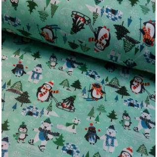 Ткань на отрез 1837 поплин детский «Пингвины»