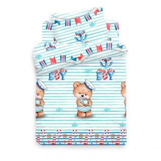 Ткань поплин на отрез 8797 «Мишка морячок»