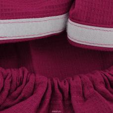 Вафельная накидка на резинке для бани и сауны, мужская, цвет рубиновый
