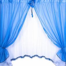 Шторы Розочка 300/175 см цвет синий