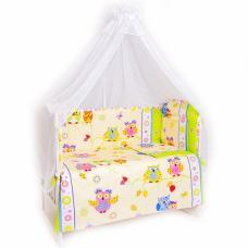 Набор в кроватку 6 предметов с оборками Совы