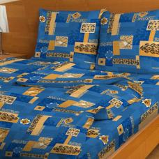 Постельное белье бязь  рис. 1101-1 Вензель синий Стандарт 1,5 сп.