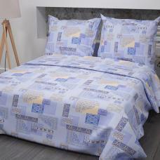 Постельное белье бязь  рис. 356-2 Арабеска голубой, Стандарт 1,5 сп.