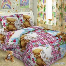 Детское постельное белье Мишка с зайкой 1,5 сп. поплин.