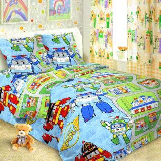 Детское постельное белье Поли робокар 1,5 сп. поплин