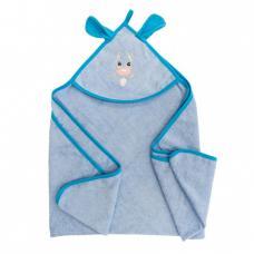 Уголок детский махровый с вышивкой голубой