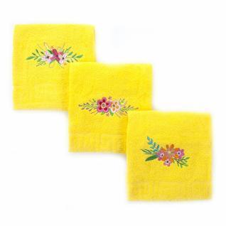 """Махровое полотенце с вышивкой """"Цветы"""" цвет лимонный 40/70"""