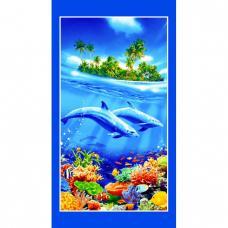 Полотенце вафельное пляжное Дельфины 150/80