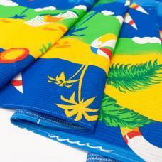 Полотенце вафельное пляжное Пляж цв синий 150/80
