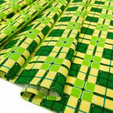 Полотенце вафельное банное Клетка цв. зеленый 150/75