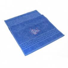 Махровое полотенце с вышивкой 40/70 Цветы 2 цвет синий