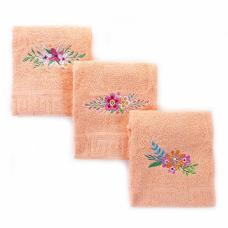 Махровое полотенце с вышивкой 40/70 Цветы цвет персиковый