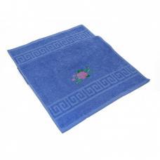 Махровое полотенце с вышивкой 40/70 Роза цвет синий