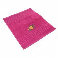 Махровое полотенце с вышивкой 40/70 Роза цвет малиновый